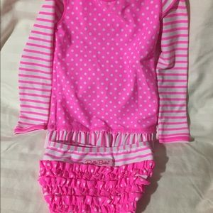 Ruffle Butts pink swimsuit SZ 4T girls